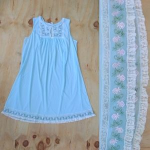 Blue Vintage Floral Lace Babydoll Nightgown